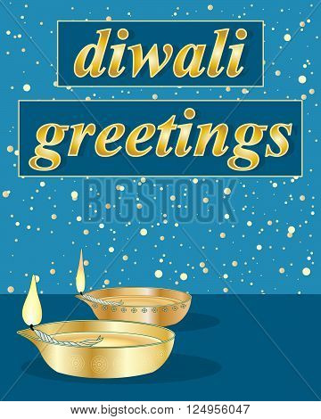 an illustration of a diwali greeting card with traditional golden lamps on a blue background