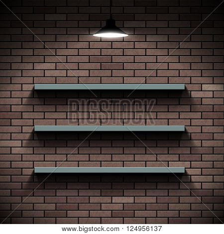 Empty shelves on a background of a brick wall. Illuminated by lamp. Stock vector illustration.