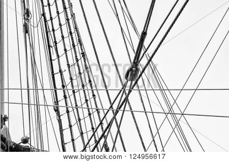 Rigging on a ship in black and white. ** Note: Shallow depth of field