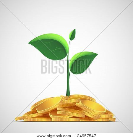 Plant with leaves on a pile of gold coins. Money deposit to the bank. Stock vector illustration.