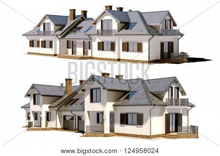 3d beautiful residential house render