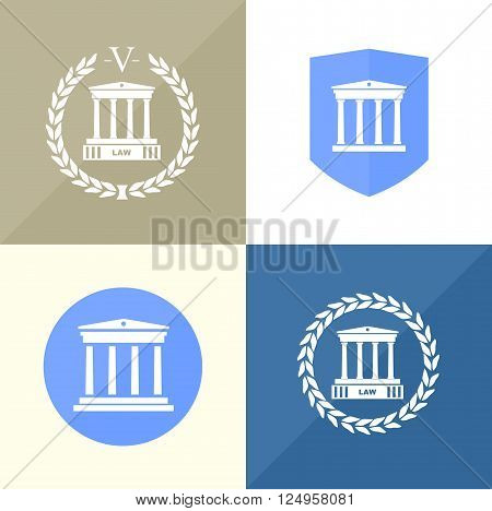A set of four icons for the notary's office with the silhouette of the courthouse