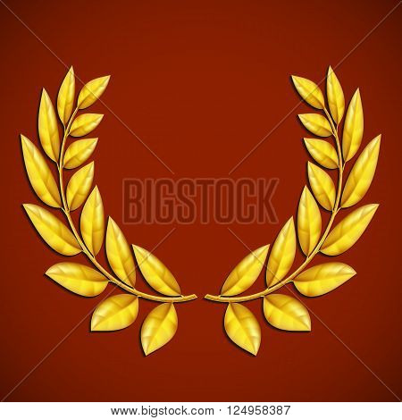 Golden olive wreath. Symbol of victory. Award winner. Stock vector illustration.