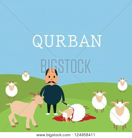 qurban sacrifice kill goat lamb in islam idul adha Udhiyyah livestock animal during Eid al-Adha vector