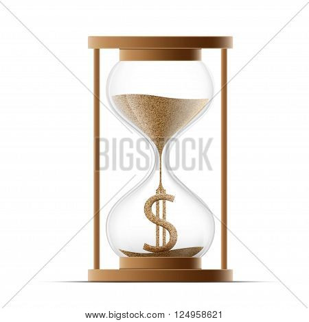 Hourglass with dollar sign. Costs money. Icon isolated on white background. Stock vector illustration.
