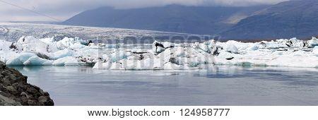 Icebergs at Jokulsarlon glacier lagoon, south of Iceland