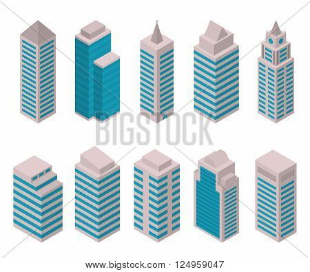 Isometric set of vector tall buildings on a white background. Residential apartments, offices, shopping centers, hospitals and universities. European high-rise buildings. City constructor.