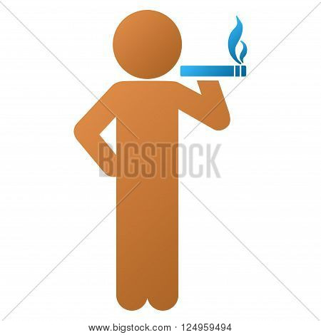 Smoking Child vector toolbar icon for software design. Style is a gradient icon symbol on a white background.