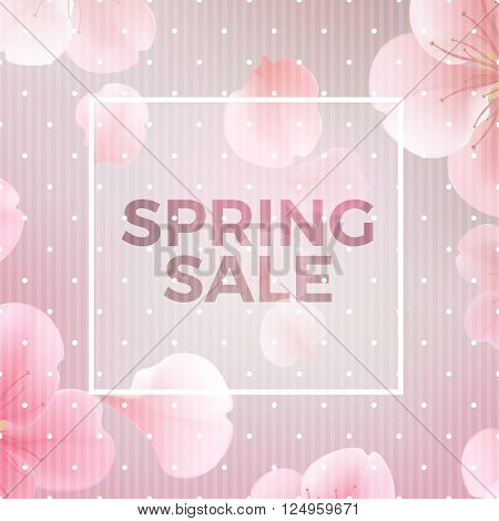 Pink soft floral background with frame and Spring Sale text vector illustration. Modern style vector soft spring illustration background