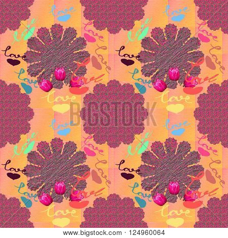 Seamless raster pattern in bright summer colors and floral design of roses and geometric shapes with love handmade inscription