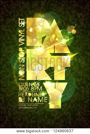 Non stop party poster mock up design with golden title and polygon backdrop