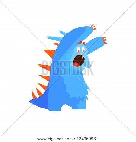 Furry Childish Monster Chasing Flat Cartoon Style Isolated Vector Design Print On White Background