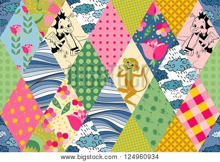 Childish seamless patchwork pattern with cute monkey, dragons, flowers, clouds and waves. Cute vector illustration of quilting.