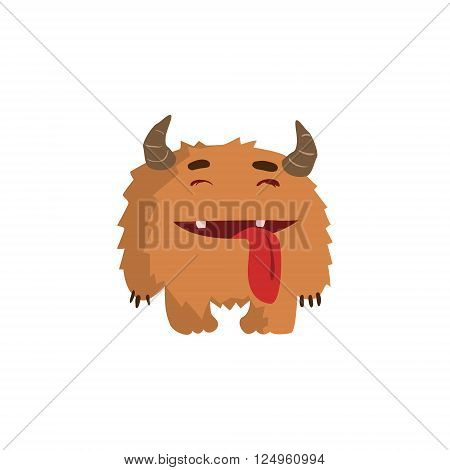 Furry Childish Monster With Horns Flat Cartoon Style Isolated Vector Design Print On White Background