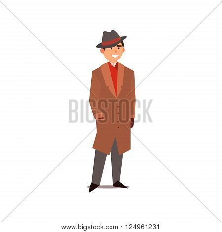 Man Dressed As A Gangster Isolated Primitive Design Style Vector Illustration on White Background