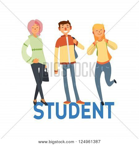 Student People Set Of Three Person Casually Dressed Simple Style Vector Illustration With Text On White Background