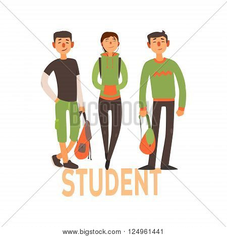 Student People Set Of Three Person With Green Clothes Simple Style Vector Illustration With Text On White Background