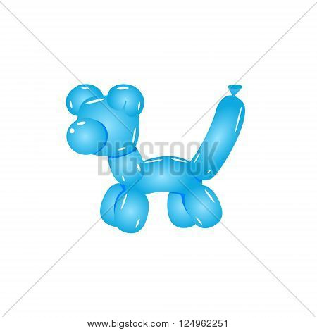 Blue Balloon Cat Realistic Vector Illustration Isolated On White Background