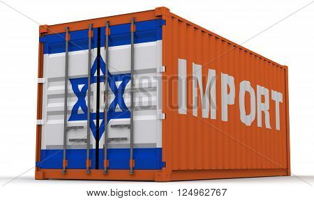 Imports of Israel. Freight container on a white surface with inscription
