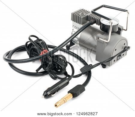 Car tyre electrical inflator isolated on white background