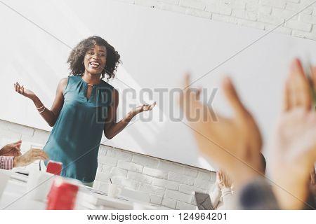 Presentation Business Office Woman Applauds Concept