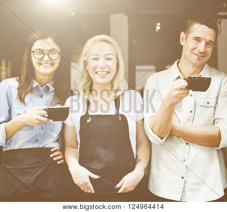 Friends Partnership Barista Coffee Shop Cafe Concept
