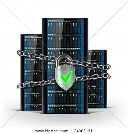Network servers with a lock with chain. Security database. Stock vector illustration.