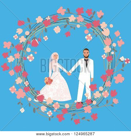 man woman couple in relationship marriage in Islam wearing head scarf hijab veil vector