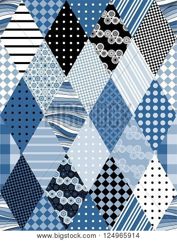 Winter seamless patchwork pattern. Fabric in blue tones. Vector illustration of quilting.