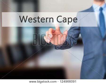 Western Cape - Businessman Hand Pressing Button On Touch Screen Interface.