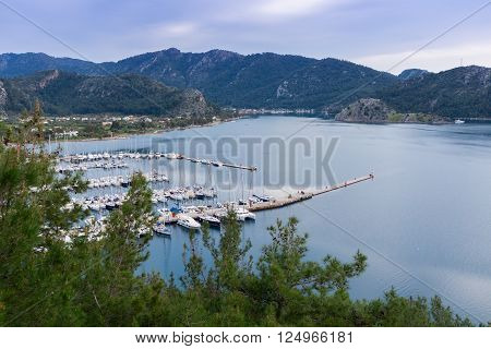 Yacht marina in the bay of Marmaris, Turkey