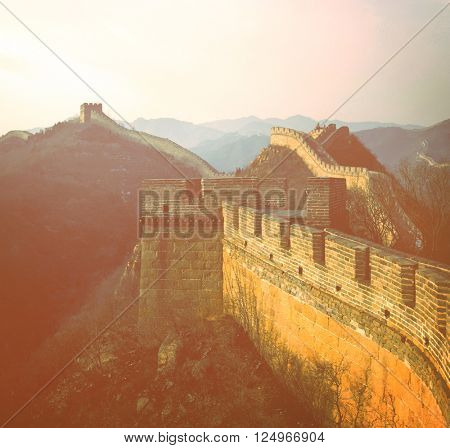 Great Wall of China Beijing Sunrise Concept