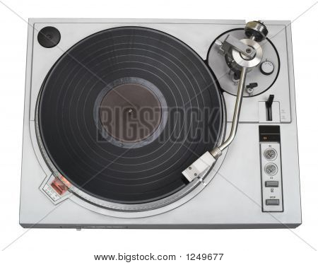 Stylish Turntable Top View With Disk (Clipping Path Included)