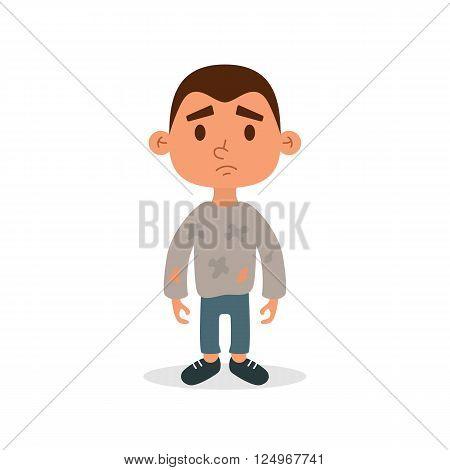 Homeless child. Cartoon flat character. Homeless character. Homeless child