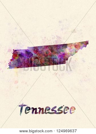 Tennessee US state poster in watercolor background