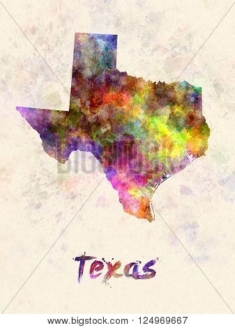 Texas US state poster in watercolor background