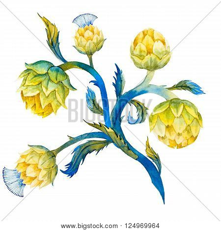 Beautiful image with nice watercolor artichoke flower