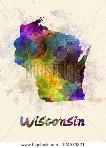 Wisconsin US state poster in watercolor background