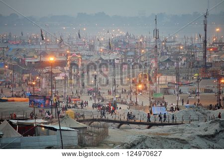 ALLAHABAD, INDIA - FEBRUARY 06 2013: Aerial view of Maha Kumbh Mela festival camp, the world's largest religious gathering.