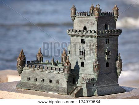 Lisbon, Portugal  November 29, 2014: Replica of Belem Tower in Lisbon, Portugal