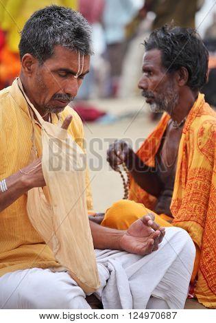 ALLAHABAD, INDIA - FEBRUARY 10, 2013: unidentified visnavas at the Maha Kumbh Mela Hindu religious festival