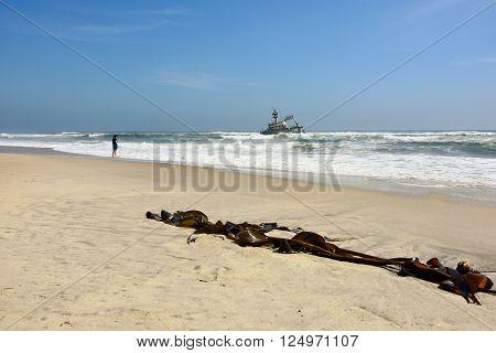 Shipwreck on the skeleton coast Namibia, Africa