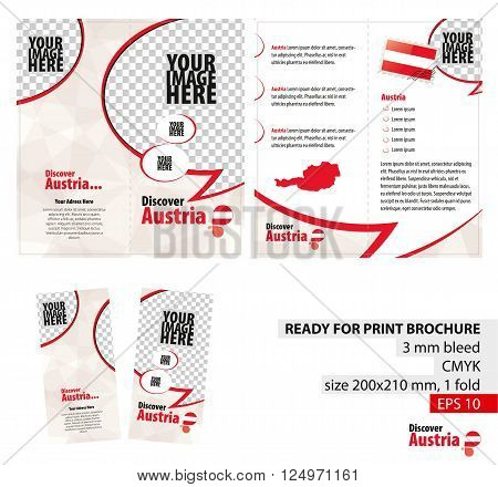 Brochure Design Template Discover Austria. Ready for Print 3 mm Bleed. Flayer Leaflet Booklet Template. Vector Illustration.