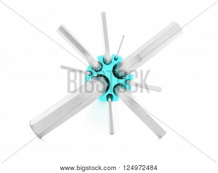Allen key steel tool for construction isolated on white background