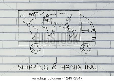 Delivery Truck With World Map Design, Shipping & Handling