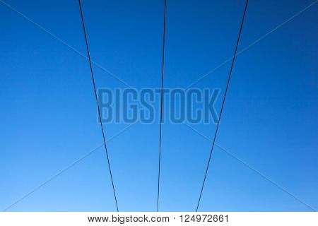 three black power lines on a blue sky