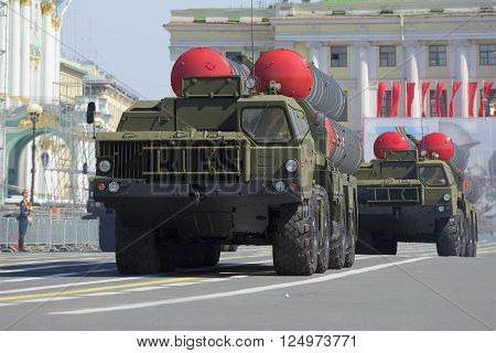 ST. PETERSBURG, RUSSIA - MAY 05, 2015: Two rocket launchers ZRS-300PM on parade rehearsal in honor of a close-up of the Victory Day