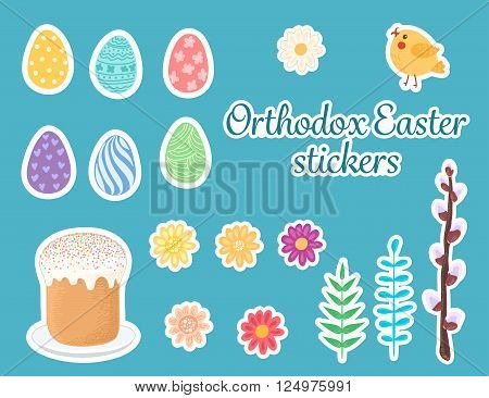 Orthodox easter stickers. Cartoon decorative elements on blue background.