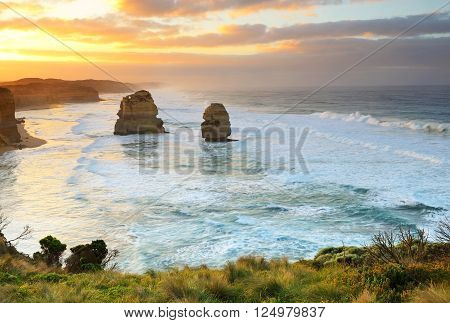 Sunrise over Gibson steps near Twelve apostles sea rocks in Great Ocean Road, Victoria, Australia.