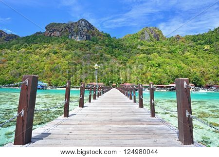 Wooden jetty in Bohey Dulang Island in Sabah Borneo Malaysia.